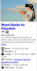 mixed reality course sign up card